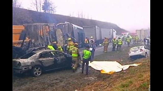 Three Die in 95-Car Pileup