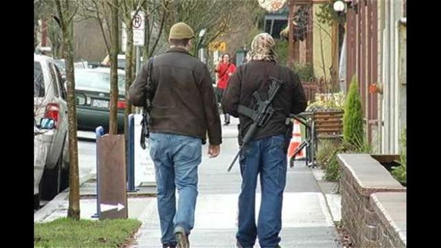 Men Armed With Assault Rifles Walk through Portland to 'Educate' Public on Gun Rights
