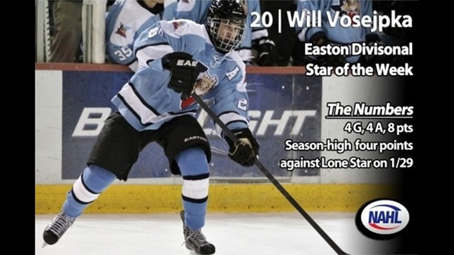 Vosejpka Named Easton Divisional Star of the Week