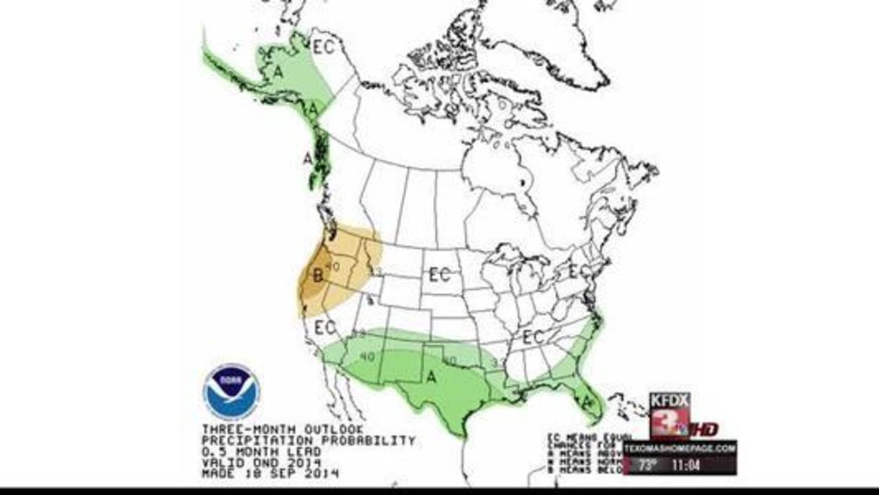 NOAA October Drought Map Puts Texoma in Persist or Intensify Category