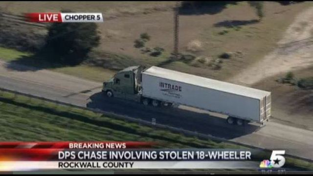 Report: Police Chase Involving Stolen Big Rig