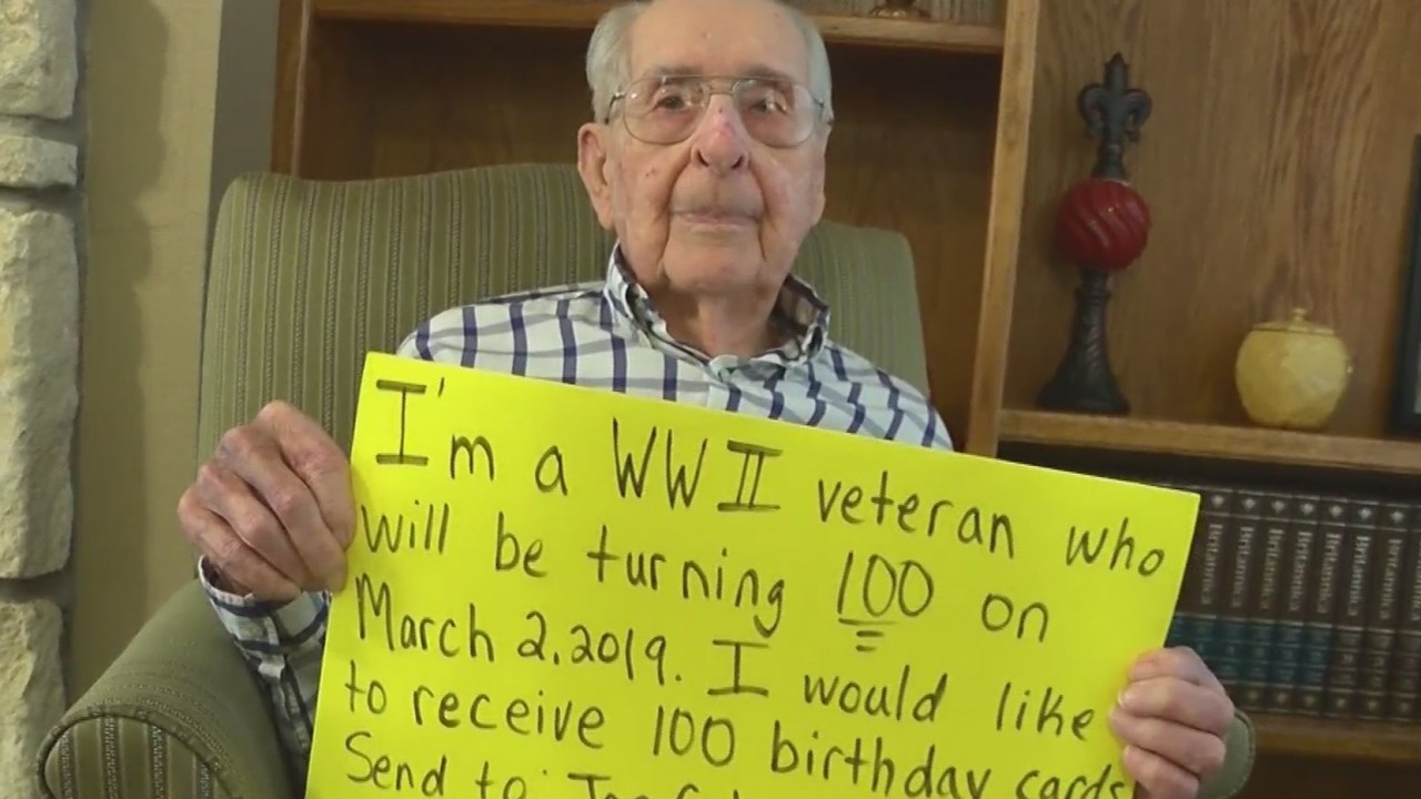 WWII Veteran Makes Wish For 100 Cards Centennial Birthday